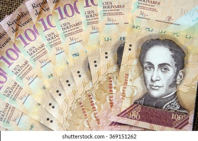 one hundred Bolivares the currency of the country Venezuela in South America; detail