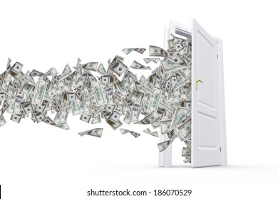 One hundred dollar banknotes flying and streaming on windy air out of open real estate door, isolated on white background.