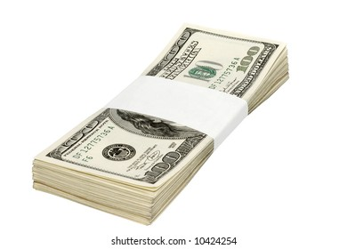 One hundred dollar banknotes, isolated, customizable blank label