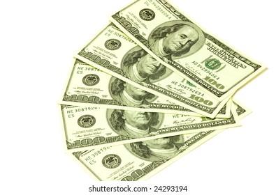One hundred dollar banknotes on white