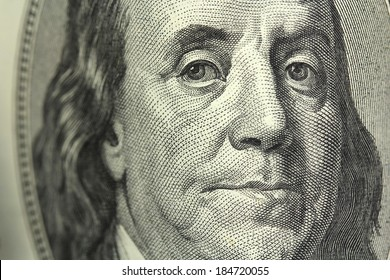 One hundred dollar bill closeup