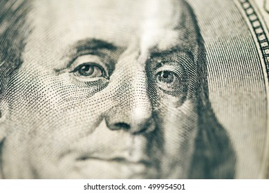 One hundred dollar bill closeup. Shallow depth of field.