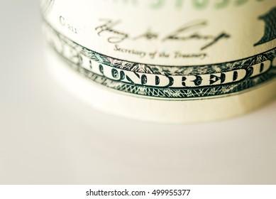 One hundred dollar bill closeup. Shallow depth of field.