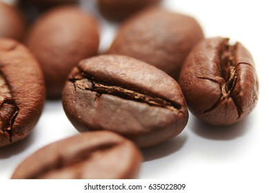One hundred dollar bill made of coffee beans isolated over white background