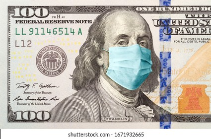 One Hundred Dollar Bill With Medical Face Mask on Benjamin Franklin.
