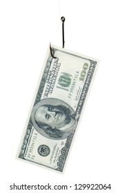 one hundred dollar bill on a fishing hook against the white background