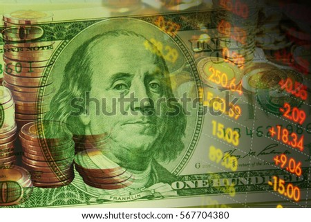 One Hundred Dollar Bill Selective Focus Financial Data On A Monitor Finance Data Concept