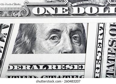 One hundred dollar bills background.