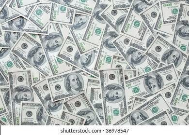 One hundred dollar bills background for your design