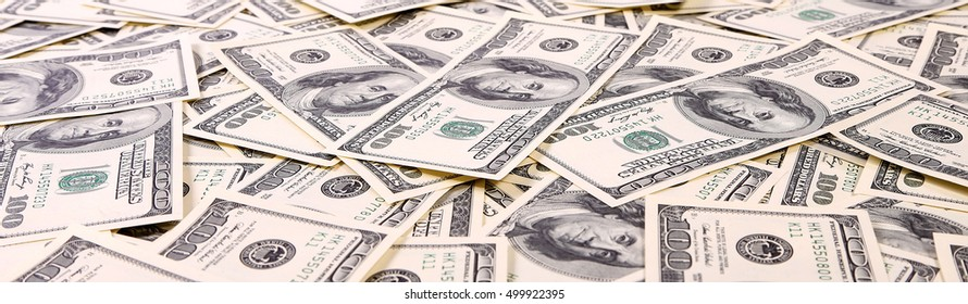 One hundred dollar bills close up, U.S. currency