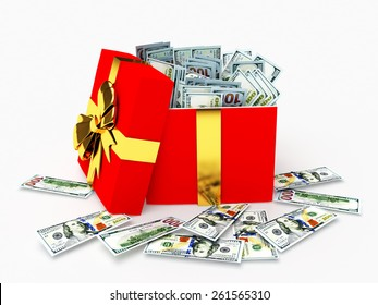 One hundred dollar bills in a gift box isolated on white background