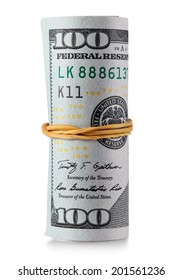 One hundred dollar bills rolled. Clipping Path