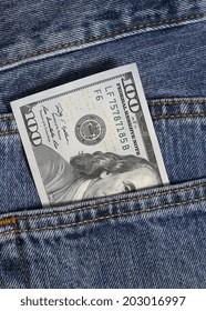 one hundred dollar in jeans pocket