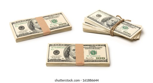 One hundred dollars banknote on white background
