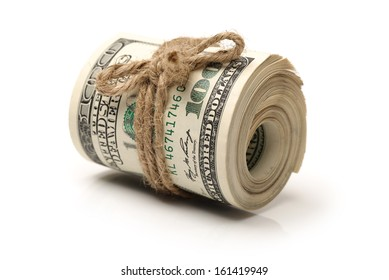 One hundred dollars banknote twisted on white background