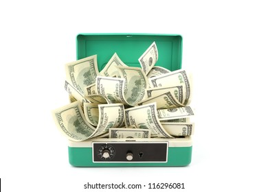 a lot of one hundred dollars banknotes in cash box isolated with soft shadow over white background