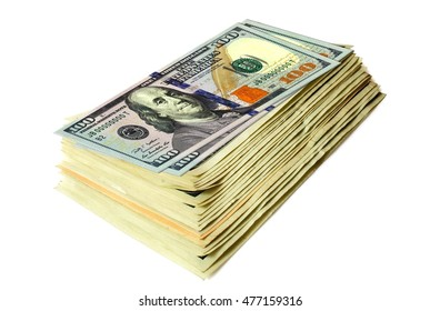 one hundred dollars banknotes are stacked