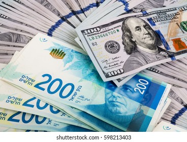 One hundred dollars banknotes with two hundred shekels - Israeli money