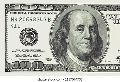 One hundred dollars bill closeup detailed image