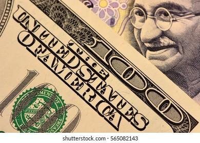 One Hundred Dollars Bill with Gandi