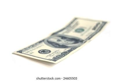 one hundred  dollars isolates on white