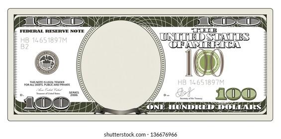 One hundred dollars. Rasterized illustration. Vector version in my portfolio