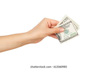 One hundred dollars in the woman's hand, isolated on white