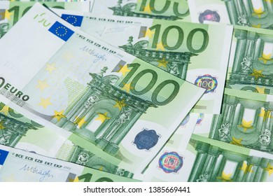 one hundred euro bank notes.