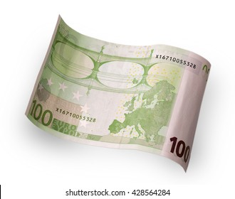 one hundred euro banknote behind wave carved on a white background
