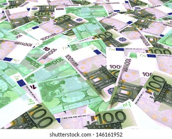 One hundred euro banknotes background. Perspective view. 3D illustration.