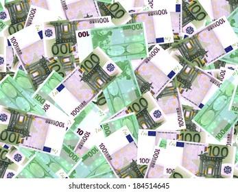 One hundred euro banknotes background. 3D illustration.