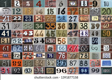 one hundred house numbers in all kinds of colors and styles