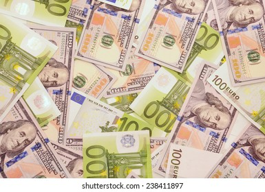One hundred north american dollars and euro banknotes background.