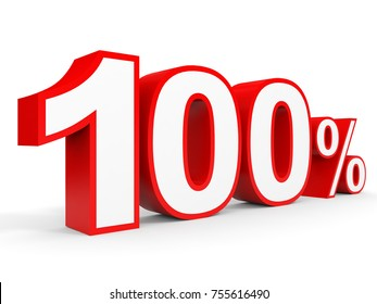 One hundred percent off. Discount 100 %. 3D illustration on white background.
