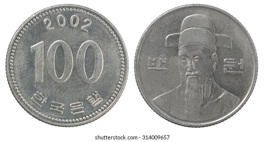 One hundred south korean wons coin isolated on white background