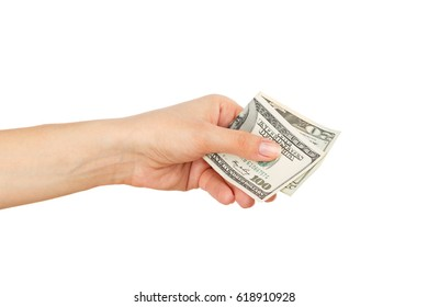 One hundred and twenty dollars in the woman's hand, isolated on the white