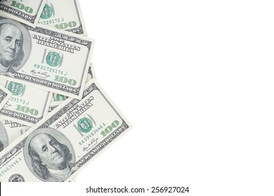One hundred US dollar banknotes isolated on white background