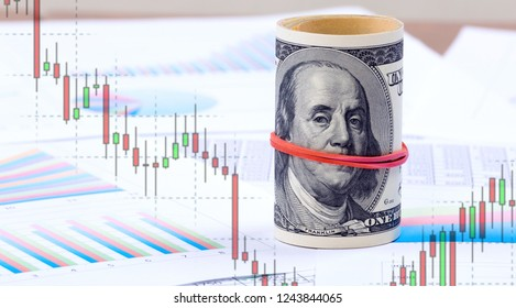One hundred US dollars against the background of the graphs and the Japanese candlesticks at the forex market currencies. Concept - why America is silent on the fall of the course.