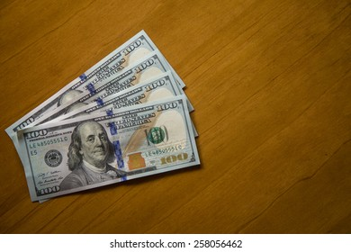 one hundred US dollars notes.