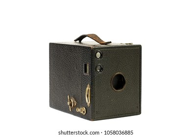 One hundred year old Kodak Brownie on white background