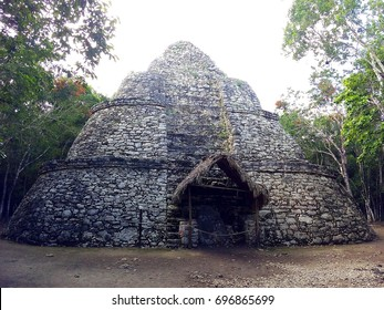 One of impressive stone pyramids in Coba, ruins of ancient Mayan city in Yucatan, Mexico