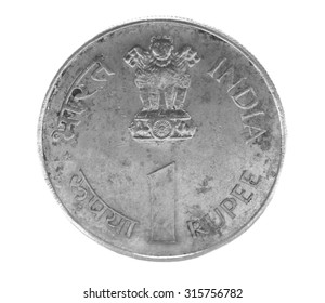 one indian rupee coin isolated on white background