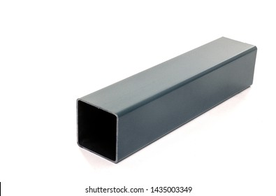 one isolated metal rectangle steel bar rounded square metal profile industrial iron construction material white background isolated