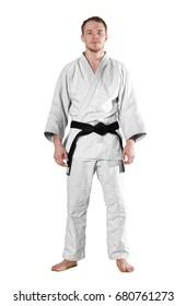 One judoka fighter man on white background