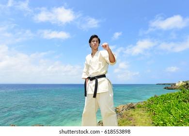 One karate kata training man