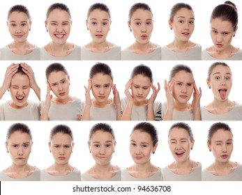 One kid - many faces. Young beautiful schoolgirl with facial expressions