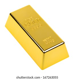 One kilo piece of gold  isolated on white