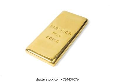 one kilogram fine gold bullion bar. isolated white background.