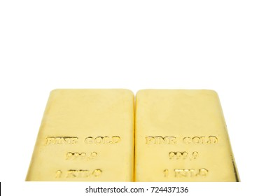 one kilogram fine gold bullion bar. isolated white background.Detail shot with low depth of field.