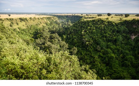 One kilometer long and 100 meters deep Kyambura Gorge in the Queen Elizabeth National Park that is a home for chimanzees, Uganda